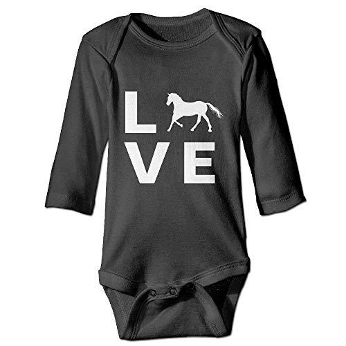 Neugeborenes Baby-Jungen-Mädchen-Bodysuit-Lange Hülse, Farm Animal Love Horses Baby Unisex Bodysuits Onesies Long Sleeve