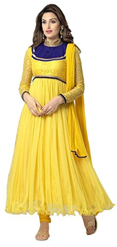 Clickedia Women's & Girl's Heavy Net & Brasso Yellow Anarkali Suit With Dupatta  available at amazon for Rs.499