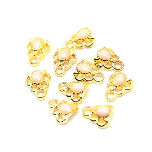 10 pcs Decoration Cristal Nail Art Manucure Forme Tour 0,8*0,7cm Dore/Rose