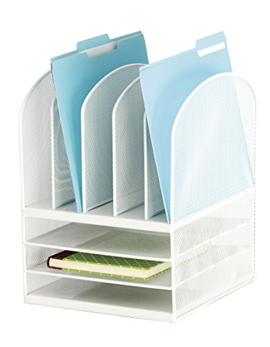 Safco Products 3266WH Onyx Mesh Desktop Organizer with 5 Vertical/3 Horizontal Sections, White by Safco Products