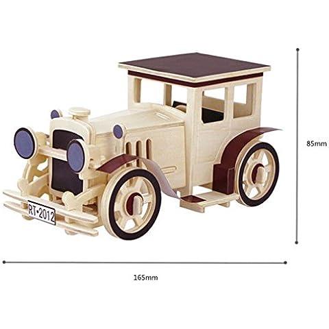 DEHANG 3D Puzzle Rompecabezas de madera - Coche clásico - Juegos de construcción bloques Regalos para niños