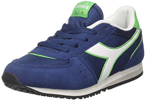 Diadora malone nyl gs, sneaker bambino, blu (blu estate verde veleno), 37 eu