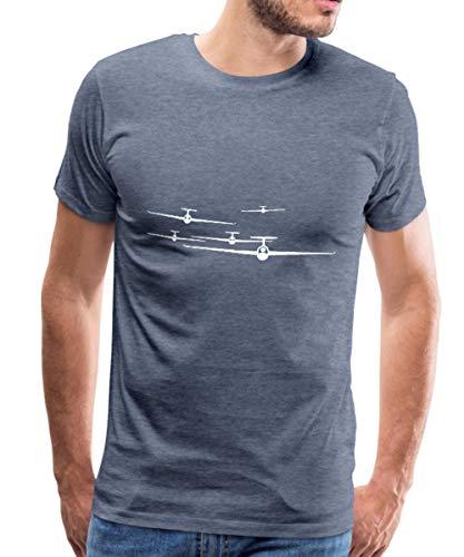 Spreadshirt Flugzeug Segelflieger Segelflugzeuge Männer Premium T-Shirt, XL, Blau meliert