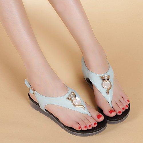 XY&GK Sandales femmes sandales d'été chaussures Lady orteil semelles épaisses Dichotomanthes chaussures Chaussures en cuir Slip fin étudiants Femmes Blue