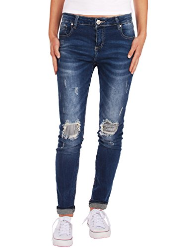 Fraternel Damen Jeans Hose destroyed relaxed fit stretch Dunkelblau L / 40 - W33 (Flare Jeans Easy Fit)