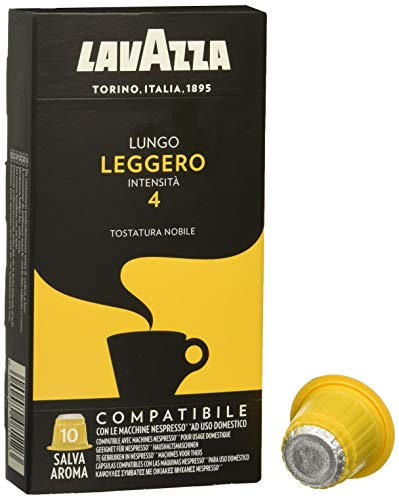 LAVAZZA Caja DE 10 CAPSULAS DE CAFA Lungo LEGGERO, Intensidad 4, COMPATIBLES con NESPRESSO