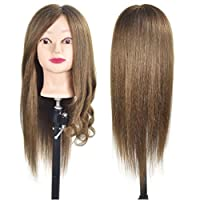 "20""-22"" Training Head 100% Real Human Hair Cosmetology Hairdressing Mannequin Manikin Doll Head (Table Clamp Holder Included)"