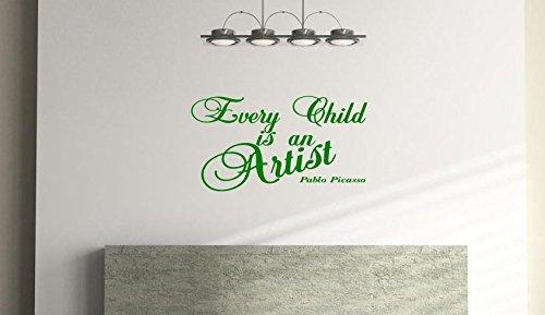 JEDES Kind ist ein Künstler, Kinder Schlafzimmer, Wandsticker Zitat Vinyl Wandtattoo (54cm x 29cm)