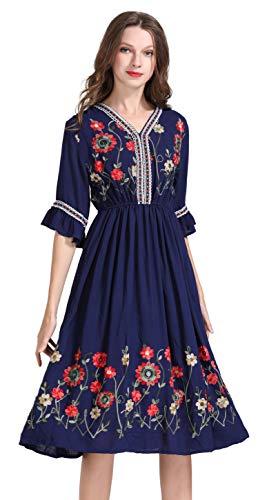 Damen Frauen Vintage Sommerkleider Kleid Mexikanischen Ethnischen Bestickt Minikleid Blume Stickerei Kleid (S, (Ethnischen Kostüm Mädchen)