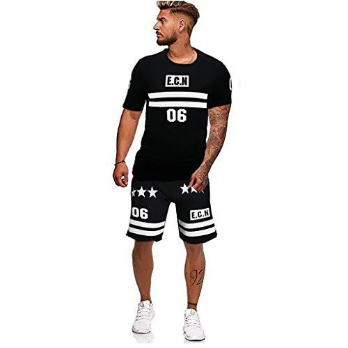 MEIbax Conjunto Pantalones Cortos Manga Corta Hombres