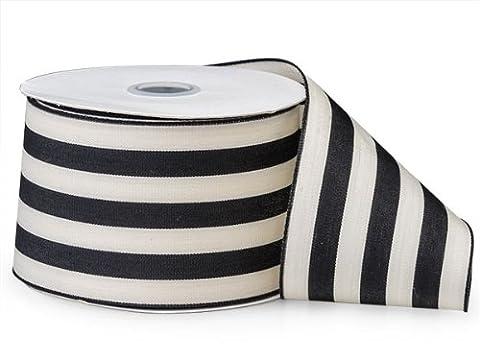 Black Cabana Stripes Ribbon2-1/2 inch X10 Yds 100% Nylon