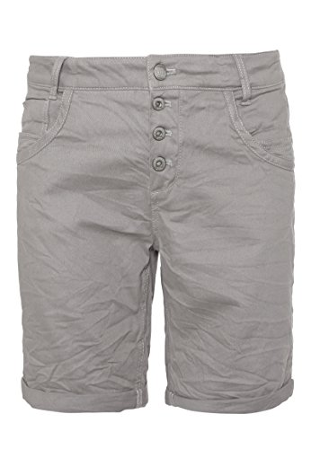 Urban Surface Damen Bermuda Shorts | Bequeme Kurze Stoffhose aus Stretch-Twill - Loose Fit Light-Grey S