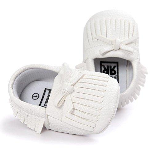 Clode® Kleinkind Baby Mädchen Quasten Bowknot Leder Schuhe Weiche Sohlen Krippe Schuhe Prinzessin Schuhe Weiß