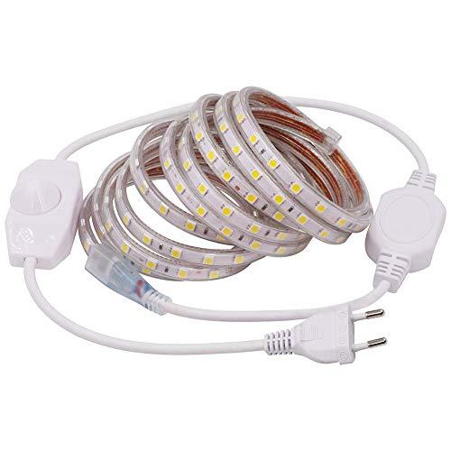 XUNATA 1m Tira de LED Regulable Blanco frio, 220V 5050 LED SMD 60 Unidades/m Luz Cuerda Dimmable, IP67 Impermeable para Decoración Interior