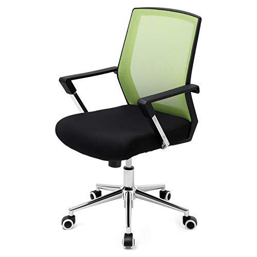 SONGMICS Bürostuhl mit Netzbezug, höhenverstellbarer Chefsessel, Schreibtischstuhl mit Wippfunktion, Drehstuhl mit gepolsterter Sitzfläche, Stahlgestell, verchromt, 150 kg, grün-schwarz OBN83GN - Nicht Gepolstert Bürostühle