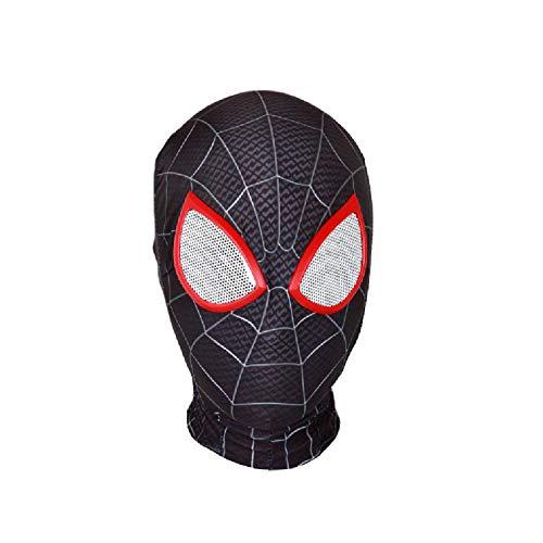 QWEASZER Peter Parker Spider-Man Maske schwarz Miles Morales Kopfbedeckung Marvel Avengers Lycra Vollmaske Halloween Film Cosplay Kostüm Requisiten Zubehör,Spiderman A-OneSize (Spiderman Kostüm Filme)