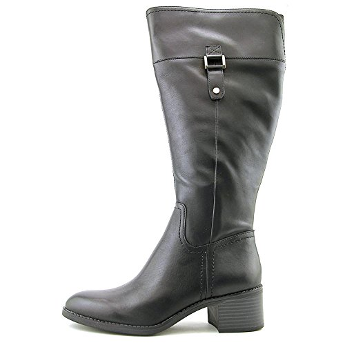 Franco Sarto Lizbeth Wide Calf Damen Rund Leder Mode-Knie hoch Stiefel Black