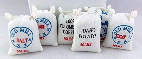 Sconosciuto miniatura per casa delle bambole Farm Accessori DI NEGOZIO Set di 6 CIBO ALIMENTAZIONE SACCHI 2265