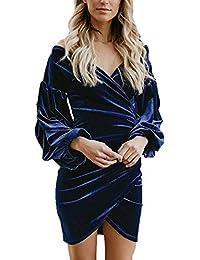 Vestiti Cerimonia Donna Corto Elegante Vintage Velluto Abiti da Sera  Autunno Invernali Manica Lunga Giovane V-Neck Senza Spalline Slim… 08dd0a41a0d