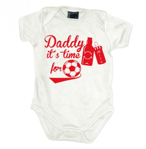 Daddy its time for football Babybody kurzarm rotprint, Grösse:56;Farbe:weiss