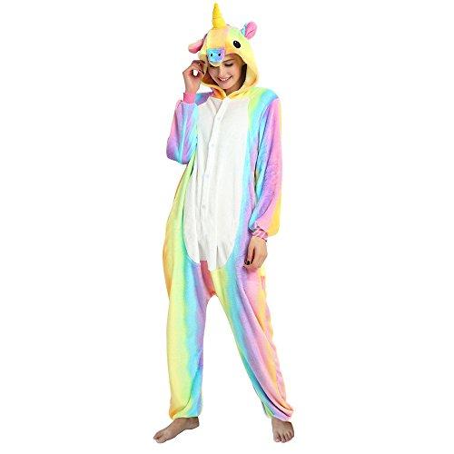 Einhorn Kostüm Schlafanzug Pyjama Tier Karton Kostüm Tier Schlafanzug Nachtwäsche Tieroutfit Jumpsuits Overall Unisex mit Kapuze Flanell Cosplay Kleidung für Karneval Halloween Weihnachten