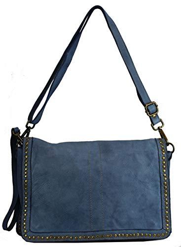 BZNA Bag Gil Jeans Blau Italy Designer Clutch Umhängetasche Damen Handtasche Schultertasche Tasche Leder Shopper Neu
