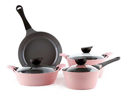 Neoflam Eela Cast Aluminum 7 Piece Set, Pink by Neoflam