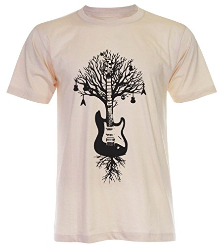 PALLAS Unisex's Guitar Tree Graphic Art T Shirt Light Beige