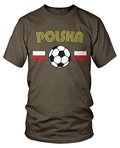 Men's Polska Flags, Poland Soccer, Polish Football T-Shirt M -