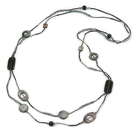 2brins Long Coque et collier de perles en verre noir/gris ardoise–100cm–l