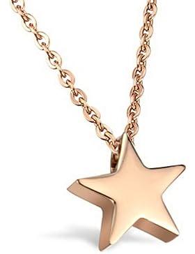 bigsoho Edelstahl Rose Gold plattiert Kette mit Stern Sternchen Mädchen Dammen Halskette