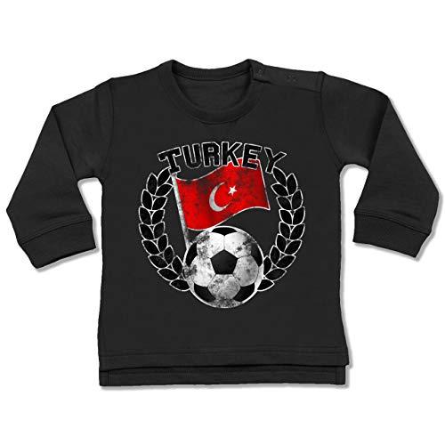 Shirtracer Fußball-Weltmeisterschaft 2018 - Baby - Turkey Flagge & Fußball Vintage - 18-24 Monate - Schwarz - BZ31 - Baby Pullover