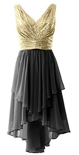 MACloth - Robe - Trapèze - Sans Manche - Femme Champagne-Black