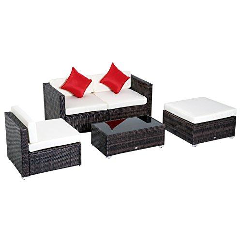 Outsunny set mobili rattan 5 pezzi divanetto poltrona pouf tavolino con cuscini da giardino rattan pe, poliestere, ferro 75 x 75 x 64 cm marrone