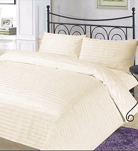 100 % Pure Egyptian Cotton Cream Double Duvet Cover with Sateen Stripe 400 Thread Count,with 2 Pillow Cases,Natural Softness,Duvet Cover Sets by MAS