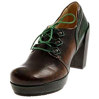 Eject High Level 17881 Damen Hochfrontpumps Lederschuhe Schuhe Leder Pumps Plateau Brown/Green EU 37