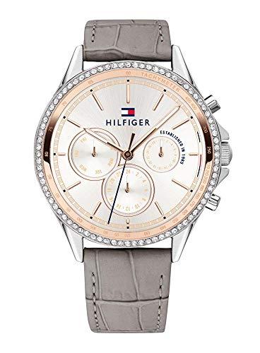 Tommy Hilfiger Damen Multi Zifferblatt Quarz Uhr mit Leder Armband 1781980