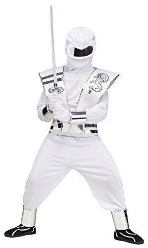 Schwarz Oder Weiß Deluxe Spiegel Ninja Halloween Verkleidung Kostüm Outfit EU 104-152 - EU 116/128, Weiß (Halloween Ninja)