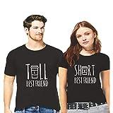 Hangout Hub Couple Tshirts Tall & Short Best Friend Printed Black Color Men-S,Women-S