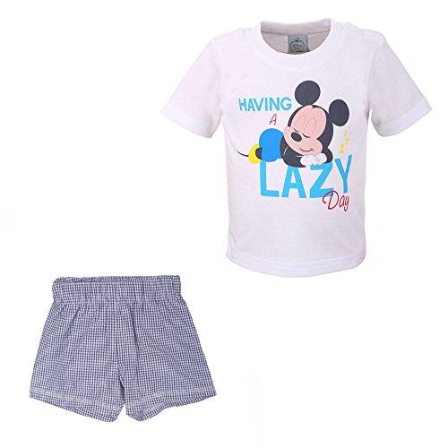 Disney Niños, Infantil, Bebé Mickey Mouse Conjunto, T-Shirt y Pantalones Cortos, Blanco