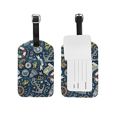 Süße Marine Doodle Gepäckanhänger PU Leder Tasche Koffer Gepäck Label 2 Stück Set -
