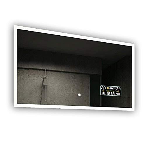 Beau Miroir Salle De Bain Lumineux LED Interrupteur tactile et Station météo