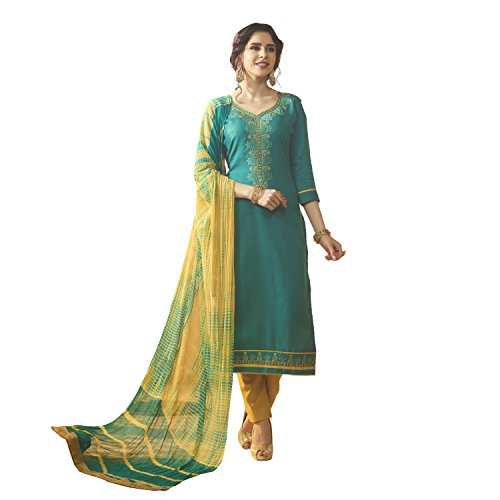 Kvsfab Women's Green & Yellow Colour Cotton Un Stitched Dress Material [KVSSK10083AND_3]