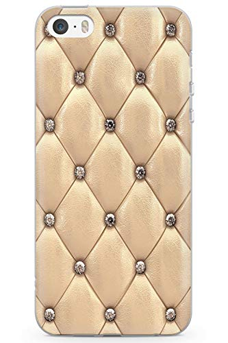 Case Warehouse iPhone 5 / 5s / SE Designer Arbeiten Gold Beschlagene Leder Schutz Gummi Handyhülle TPU Bumper Süss Blau Stein Girls Modisch -