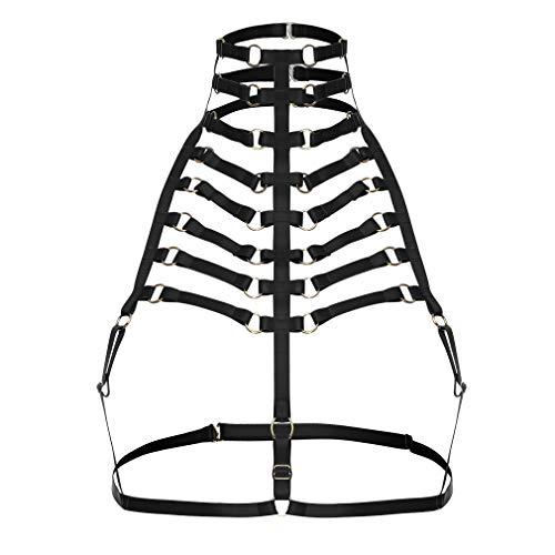 PETMHS Womens Goth Harness Strappy Körper eingesperrten BH Halloween Kostüm