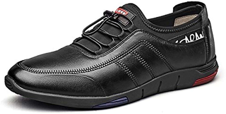 MUYII Herren Oxfords Leder Sportschuhe Hand Naumlhen Casual Lace Up Mens Rutschfeste Bequeme Schuhe