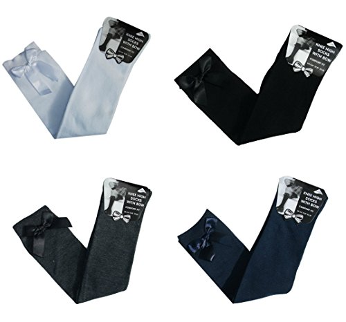 4 PAIRS GIRLS BOW KNEE HIGH SOCKS SCHOOL SOCKS / DRESS SOCKS Black-Grey-White-Navy 65% Cotton