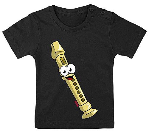 HARIZ Baby T-Shirt Flöte Lachend Instrument Kind Witizg Inkl. Geschenk Karte Pinguin Schwarz 15-24 Monate / 80-92cm (Flöte Instrument Kostüm)
