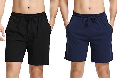 Hawiton uomo pigiama pantaloni corti in cotone, uomo pantaloncini pigiama da notte pantaloni sportivi per casa sport corsa nero&blu m