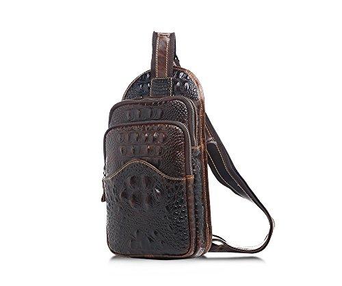 Maschi Vera Pelle Confezione Toracica Modello Coccodrillo Durevole Messenger Bag Petto Marrone